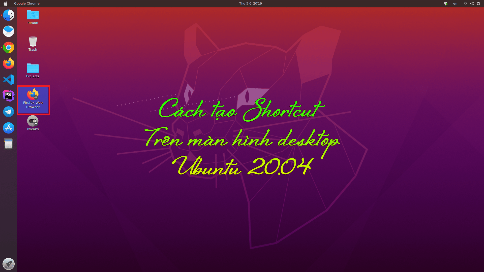 thumb tao shortcut desktop ubuntu 20.04