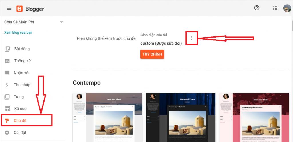 Truy cập màn hình chỉnh sửa HTML Blogger.Com