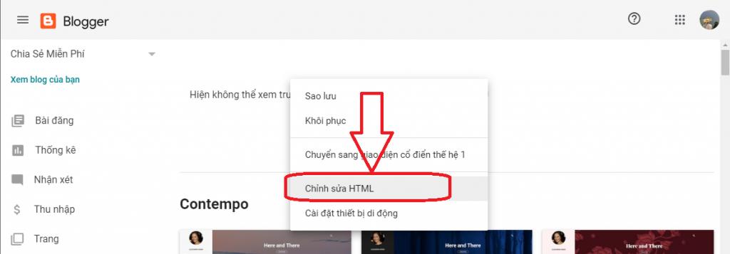 Chọn Chỉnh sửa HTML