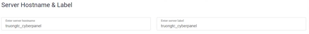 Server Hostname & Label