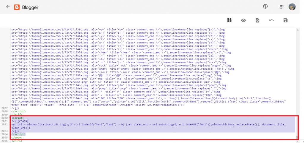 Mẫu chèn code trước thẻ đóng để xoá truy vấn ?m=1 và ?m=0