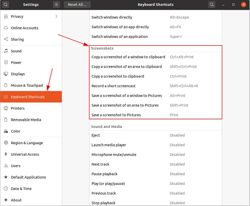 cách thay đổi phím tắt chụp ảnh màn hình trên ubuntu