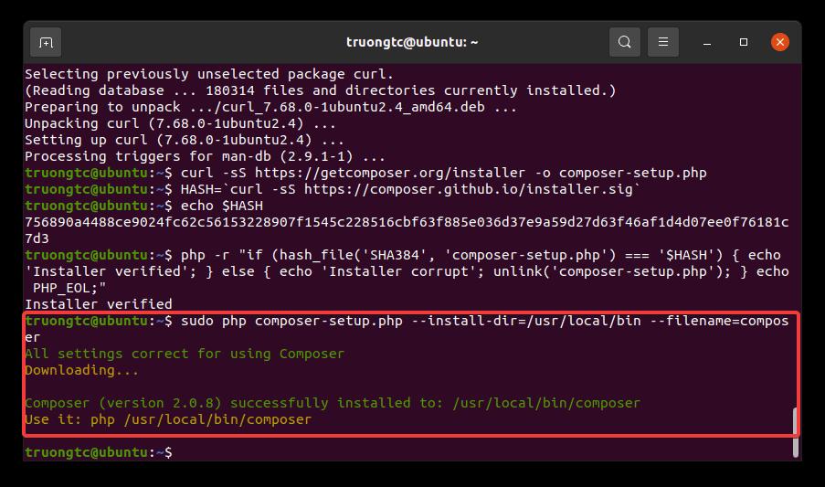 Cài đặt Composer trên Ubuntu 20.04 thành công
